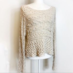 Free People Oatmeal Cream Crochet Style Sweater